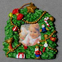 Christmas Ornament Metal PHOTO FRAME Enameled WREATH Stand or Hang USA SELLER