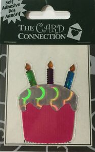CUPCAKE with 3 CANDLES Dimensional Sticker(1pc)Card Connection🎂Birthday🎂Party