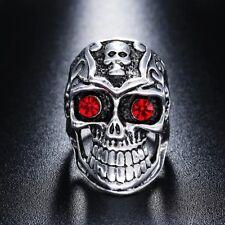 Red Crystal Eyes Silver Tone Skull Ring Sizes Q T Y
