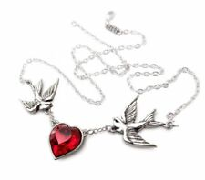 Alchemy Gothic Swallow Martlet Heart Pendant Necklace Red Swarovski Crystal Gift