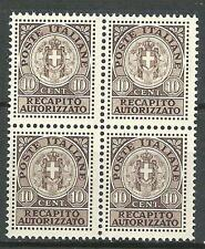 Italy 1930 Sc# EY2 set Authorised delivery Arms 10c block 4 MNH