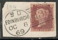 Queen Victoria - SG 44 - 1d Red -  Better Plate 104 - on a Piece -Edinburgh 1869