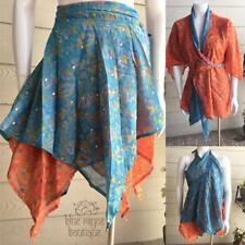 Free Size Silk Layered Magic Skirt Wrap Upcycled Saris Wear Dozens of Ways #03