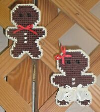Pins~Gingerbread Boy & Girl~Jewelry~Hand Stitched~Finished Back~Dark Brown~New