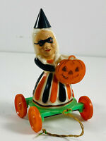 VTG Rosbro Rosen RARE Halloween Witch Pull Toy NICE candy container