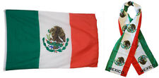 "Wholesale Combo Set Mexico Mexican Country 3x5 3'x5' Flag and 8""x60"" Scarf"