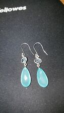 Shivam Made in India .925 Sterling Silver Blue Chalcedony Oval Earrings  - NEW