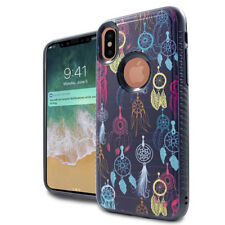 For iPhone X - Mini Colorful Dream Catchers Hybrid Rubber Protector Case Cover