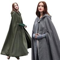 Winter Womens Casual loose Hooded Wool Blend Long Cape Cloak Poncho Coat Outwear