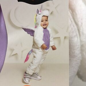 New Infant Unicorn Costume 0 - 6 Months Baby Plush Hood NWT White Colorful