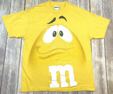 Vintage Yellow M&M Face All Over Print Big Logo T Shirt M&M's Size L