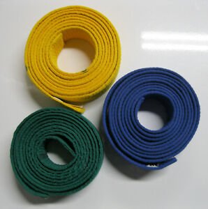 3 Tiger Claw Martial Arts Ranking Belts: Blue & Yellow Size 4; Green Size 3