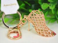 KC173 Gold High-heeled Shoes Keyring Women's Fashion Pendant Keychain Bag Gift