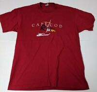 Vintage Cape Cod XL Shirt Single Stitch VTG Cuffys Short Sleeve Red Regatta