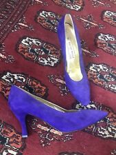 80's Vintage Purple Suede Bruno Magli Designer Pumps Shoes 9 / 9.5 N