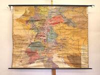 Wandkarte Friedrich der Große 1740-1801 190x154~1940 Preussen Österreich vintage