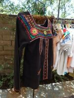 VINTAGE 80's INDIA TOP ~ Thick Black Gauze Embroidered Folk Art Blouse~Mint Cond