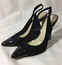 Elie Tahari 'Alise' Black Leather Slingbacks EU 35.5 US 6.5