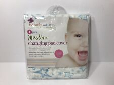 MiracleWare Baby Changing Pad Cover Muslin Blue Stars 100% Cotton Natural Fiber