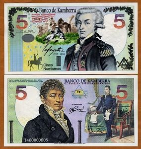 Kamberra,  5 Numismas, 2014, UNC > General Lafayette > New Security