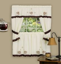 COFFEE CUP - KITCHEN CURTAIN Embellished Cottage set - embroidered / beige  24""