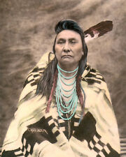 """CHIEF JOSEPH NATIVE AMERICAN INDIAN NEZ PERCE 8x10"""" HAND COLOR TINTED PHOTOGRAPH"""