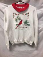 Womens White Grandma Collared Sweater Sz XL Red Cardinal Winter