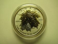 2014 Proof $3 Gold Plated Maple Leaves SML from fractional set 1/4oz .9999 silve