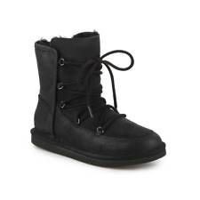 Ugg Lodge Black Leather Winter Snow Bootie Womens Size 8