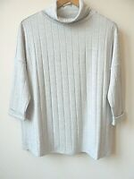 New Womens Pale Grey Roll Neck 3/4 Sleeves Ribbed Fine Knit Jumper Size 10-16