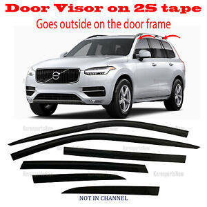 2S DARK BLACK Door Window Vent Visor Deflector ⭐6pcs⭐ for Volvo XC90 2017-2021