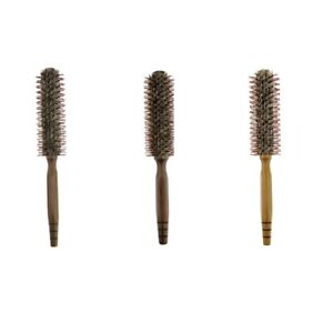 Boar Bristle Round Hair Brush Natural Wood Handle Rolling Curling Hairbrush