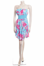Mharia Noor Size 8 Turquoise Blue White & Pink Summer Dress Ladies Party Frock