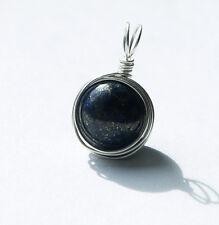 sterling silver blue lapis lazuli handmade wire work pendant jewellery