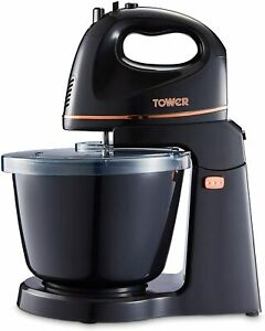 Tower T12039 Stand Mixer 2.5L Bowl 300W Black Rose Gold 1 Year Guaranee
