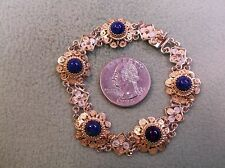 "NICE VTG ANTIQUE 800 ""STERLING"" SILVER & LAPIS FILIGREE BRACELET, GOLD WASHED"