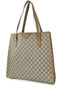 Authentic Vintage GUCCI Brown GG PVC Canvas and Leather Tote Bag Purse #40443