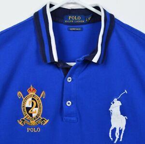 Polo Ralph Lauren Men's Large Slim Fit Big Pony Blue Crest Logo Rugby Polo Shirt