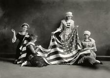 Antique Photo .. Birth of the American Flag ,Women Sewing ... Photo Print 5x7