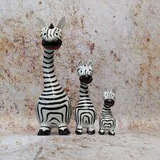 Zebra Family Set of 3 19 cm Tall Ornament Figure Wooden