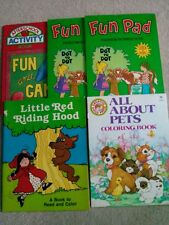 Lot of 5 Vintage Activity Coloring Reading Books/Fun Pads for Children 1 Owner