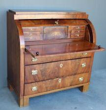 Antique Biedermeier mahogany cylinder roll top desk bureau drawers gilt 1820's