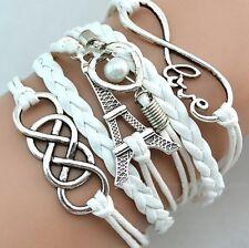 Pulsera de plata para mujer moda nueva Amor Torre Eiffel Infinity Cuero regalo