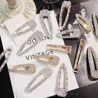 Fashion Girls Crystal Hair Clip Snap Barrette Hairpin Bobby Pin Hair Accessories