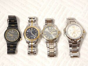 Lot of 4 Seiko Men Quartz Watches Two Tone Vintage Casual Dress Stainless Steel