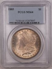 1885 US Morgan Silver Dollar Coin $1 PCGS MS-64 Toned BR4 A