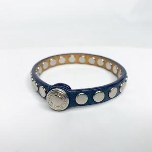 Coach Skinny Stud Leather Bracelet Blue Silver Tone Snap Jewelry