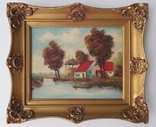 VINTAGE OIL PAINTING RARE HOLLAND LANDSCAPE H. WESTER HOUSE BOAT Mid CENTURY