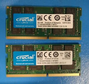 32GB DDR4-2400 DDR4-2666 Laptop Memory RAM PC4 (2x16GB)