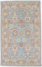 Muted Light Blue Chobi 5X8 Hand-Knotted Oriental Home Décor Area Rug Wool Carpet